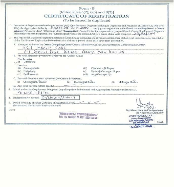 Dr Shivani SCI Healthcare Registration Certification