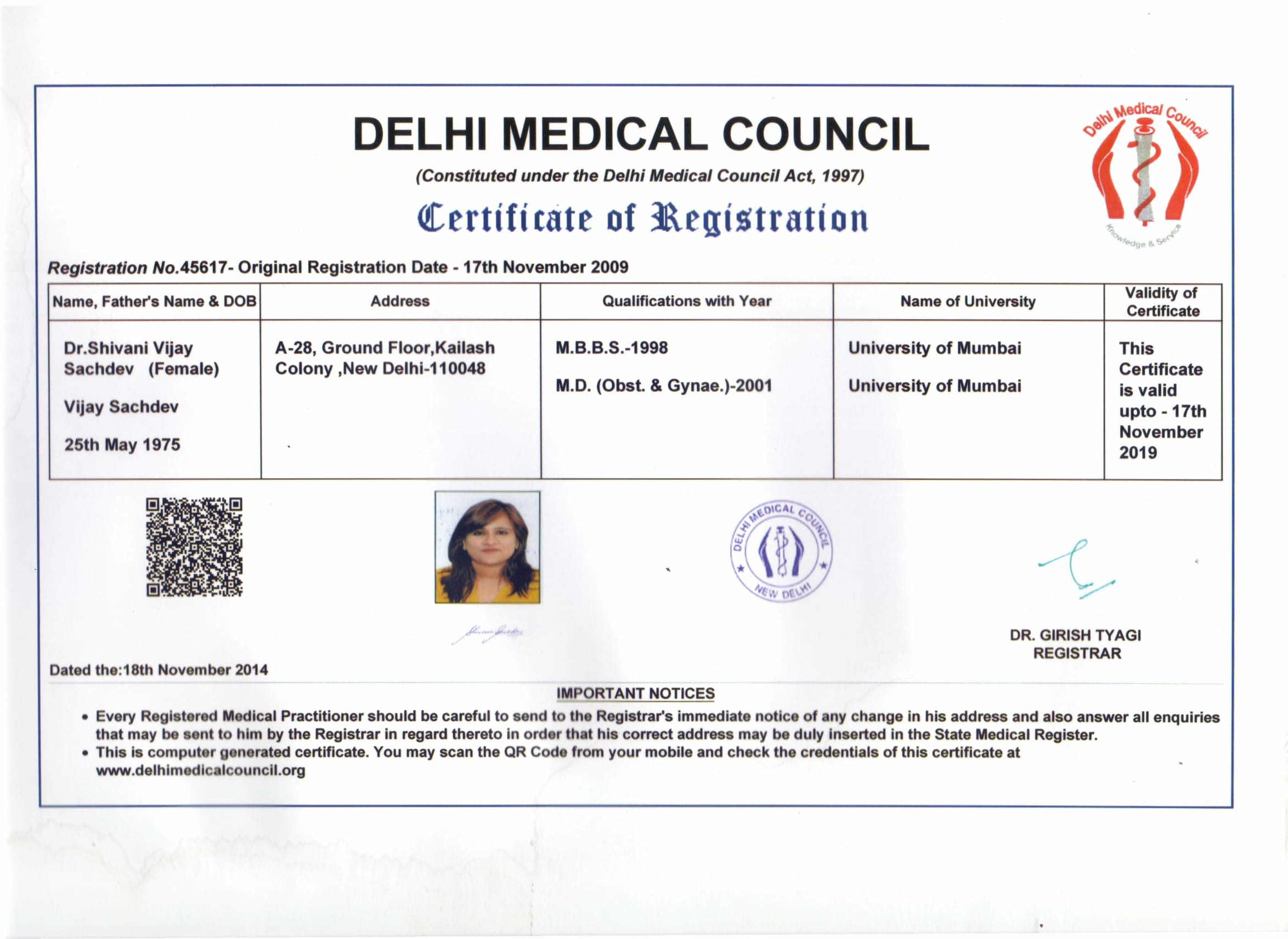 Dr Shivani Sachdev Gour certificate of Delhi Medical Council